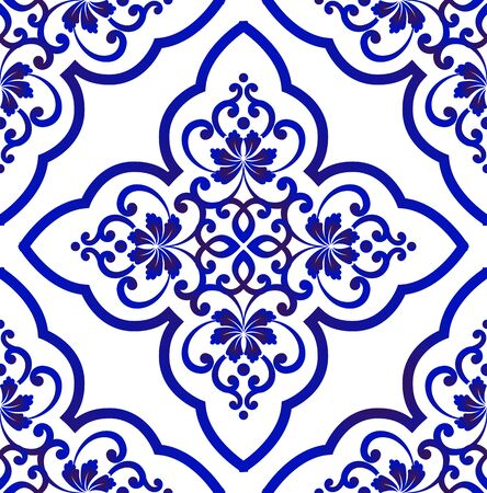 Porcelain wallpaper in baroque style, Islamic floral background, blue and white vases flower ornament, simple decoration art, ceramic tile pattern seamless vector, Chinese machine design Vettoriali