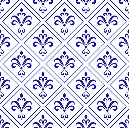 ceramic decorative tile pattern, Porcelain background, blue and white floral decor vector illustration, beautiful ceiling backdrop damask style, wallpaper baroque design