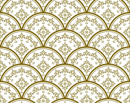 gold and white porcelain Seamless, Mandala background design, Islam, Arabic, Indian, ottoman motif, Endless pattern can be used for ceramic tile, wallpaper, paper, invitation card, vector illustration