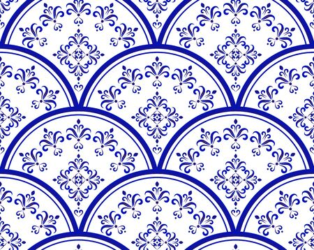 blue and white porcelain Seamless, Mandala background design, Islam, Arabic, Indian, ottoman motif, Endless pattern can be used for ceramic tile, wallpaper, paper, invitation card, vector illustration