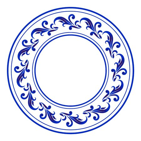 blue ornamental round, Decorative art frame, Abstract vector ornament border ceramic design, porcelain pattern template, China blue and white border, vector illustration Vettoriali