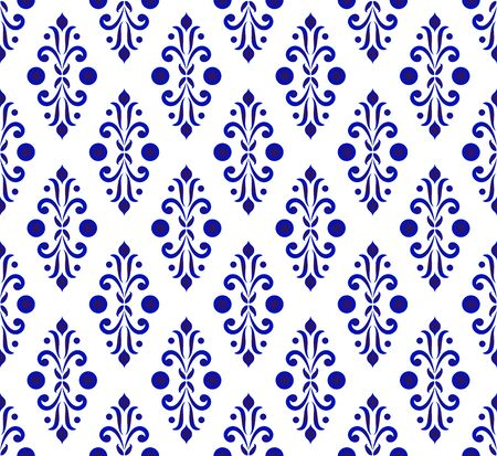 Abstract floral backdrop damask style, seamless blue and white royal pattern, porcelain background for design, pottery, ceramic, tile, texture, wallpaper, fabric and silk, vector illustration
