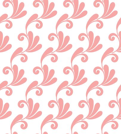 Wallpaper classic style of Baroque, seamless pink and white damask pattern, floral decorative background for design, texture, wall, tile, paper, fabric and silk, royal backdrop, vector illustration