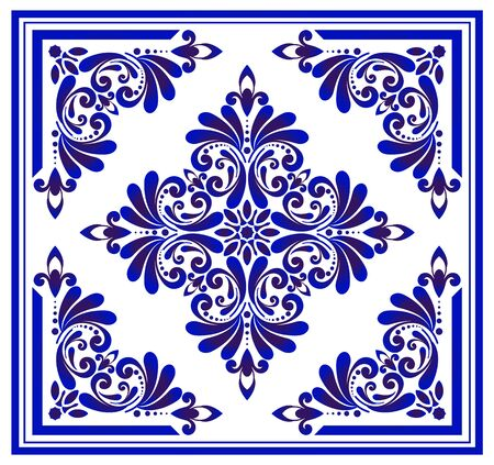 Blue and white floral pattern, victorian and damask porcelain decorative wallpaper decor, ceramic background, ceiling design, Big flower element in center frame, beautiful tile design, indigo, vector
