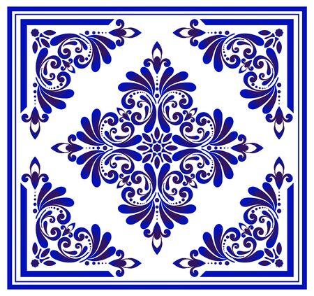 Blue and white floral pattern, victorian and damask porcelain decorative wallpaper decor, ceramic background, ceiling design, Big flower element in center frame, beautiful tile design, indigo, vector