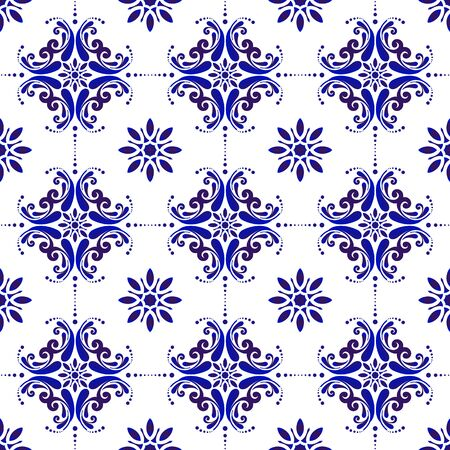 ceramic tile pattern, porcelain seamless modern background, blue and white decorative wallpaper decor, Portugal ornament, Moroccan mosaic, pottery folk print, Spanish tableware, vintage tiled design Vettoriali