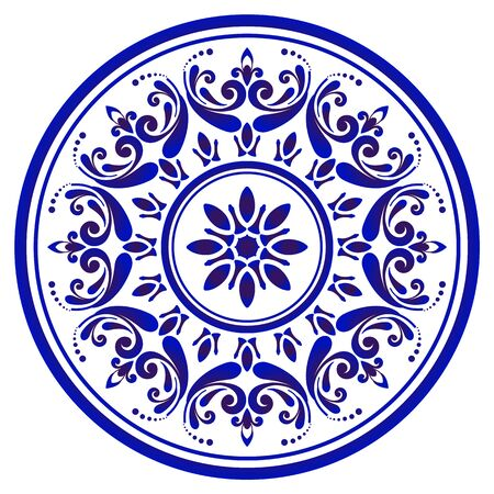 Mandala flower Pattern, Circular Chinaware pattern, Blue and white decorative ornamental round, indigo cycle art frame, Abstract vector floral ornamental round, porcelain design vector illustration