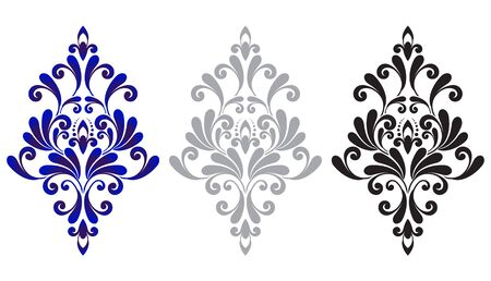 set of baroque ornament, vintage damask element blue, gray, black, decorative floral template for design wedding decoration, greeting card, wall, texture, textile, silk, paper, pottery, ceramic, tile
