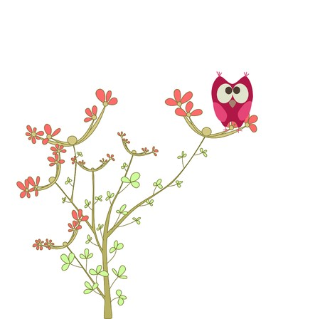 owl on a brunch with flowers  Vector