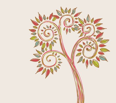 tree with multicolor leaves  Vector