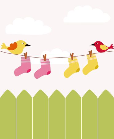 baby laundry with fence Vector