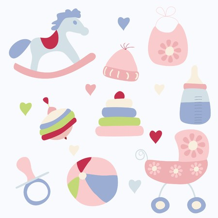 Set of toys and accessories for baby girl  Vector