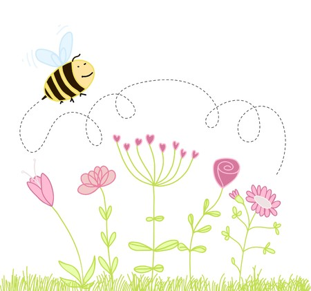 bee over the flowers Vector