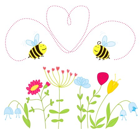 bees in love over the the flowers Vector
