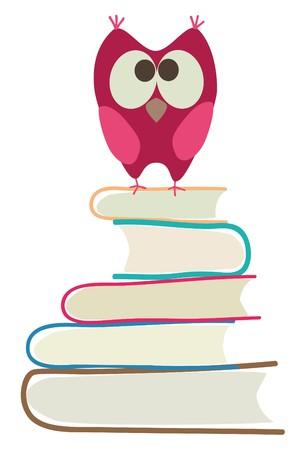 marcadores de libros: b�ho lindo y libros  Vectores