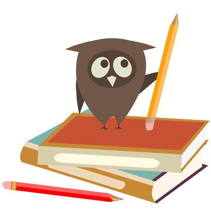 owl, books and pencils Illustration