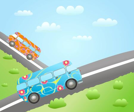 cartoon bus routes Vector