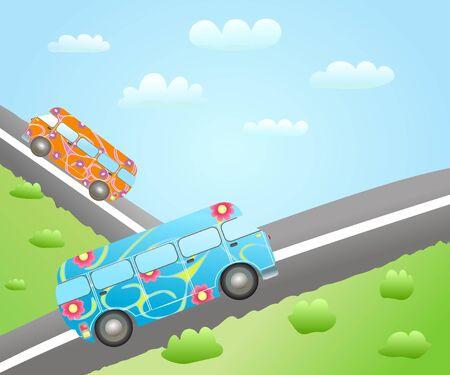 cartoon bus routes Vector