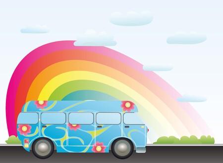 cartoon bus with a rainbow