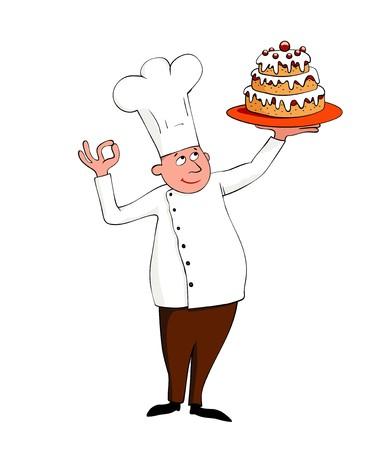 panadero: joven chef con un pastel sobre blanco