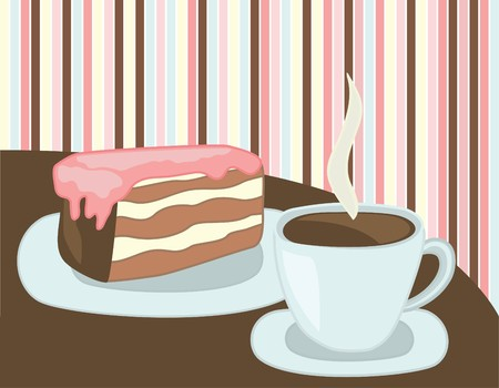 fancy cake: cup of coffee and cake