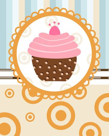 cupcake on retro background  Vector