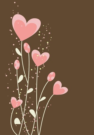 greeting with abstract hearts and flowers