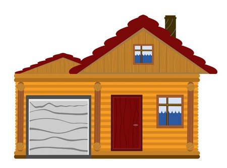 wooden house with garage Stock Vector - 7797392