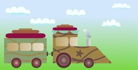 cartoon military train Vector