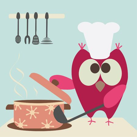 eating utensil: cute owl with a bawl cooking in the kitchen