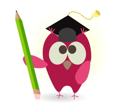 owl and pencil  Stock Vector - 7797481