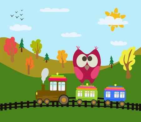 cartoon train and owl  Illustration