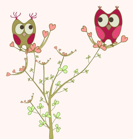 owls in love on branch Vector