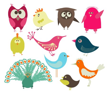 fowls: set of cute birds