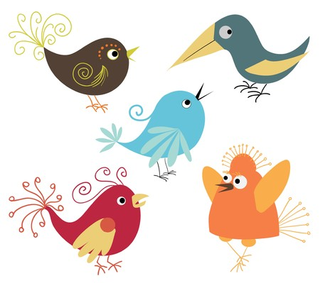 canary bird: set of cute birds