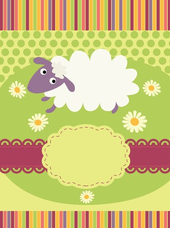 invitation card with a cute sheep