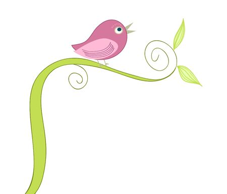cute singing bird  Ilustração