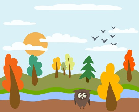 autumn landscape and owl Stock Vector - 7797368