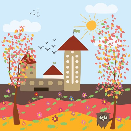 autumn landscape and owl Stock Vector - 8009591