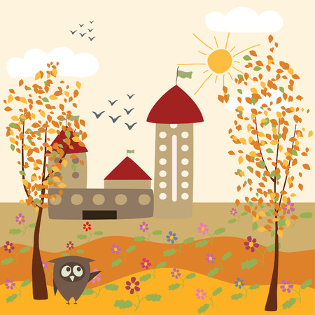 autumn landscape and owl Stock Vector - 8009595