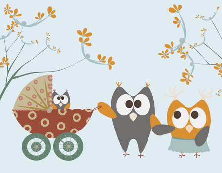 baby stroller with owls  Vector
