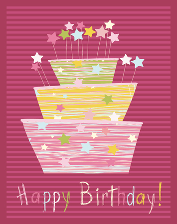 childlike birthday cake Vector