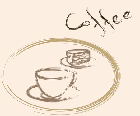 fancy pastry: coffee cup and cake drawing Illustration
