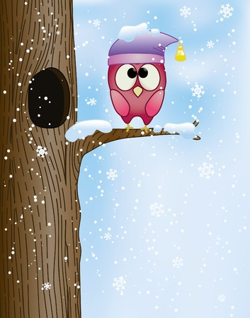 cute owl on a branch in winter Vector