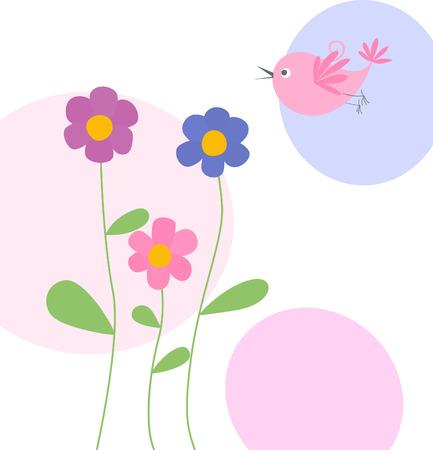 canta: carino fiori e uccelli