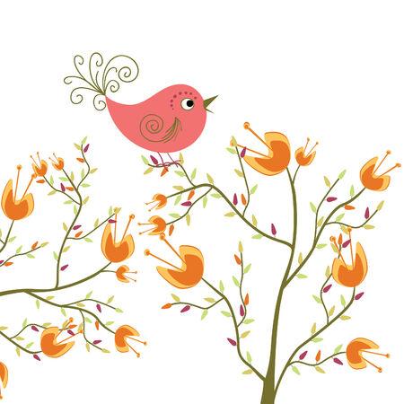 cute flowers and bird Stock Vector - 8009589