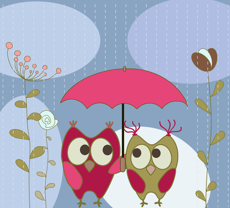 floral greeting card with owls  Vector