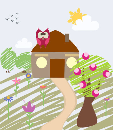 childlike illustration of house and owl Stock Vector - 8009584