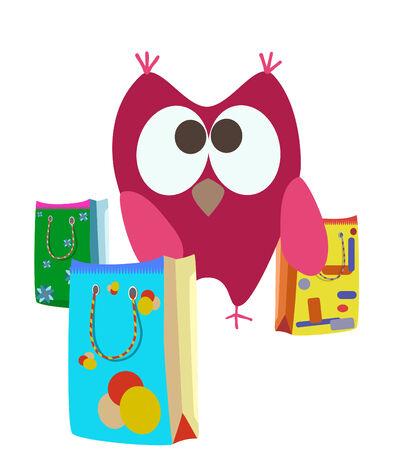 cartoon shopping bags and owl