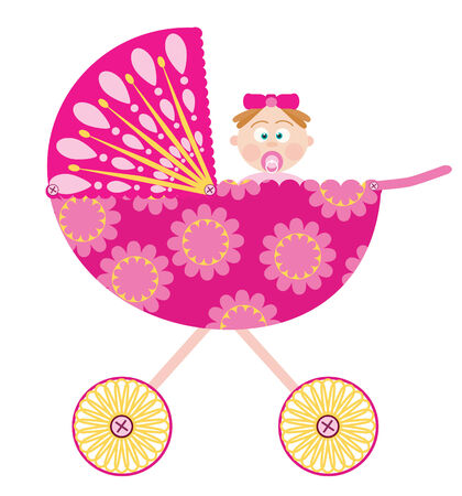 baby stroller with a girl Stock Vector - 8009597